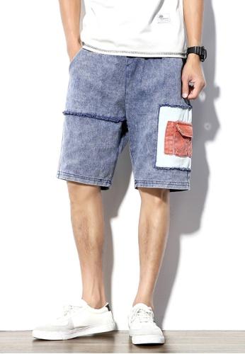 hk-ehunter 藍色 男士中腰牛仔短褲 926DFAA21D172BGS_1