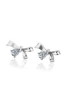 Tara 18k White Gold Plated Ribbon Earrings