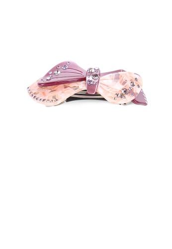 Glamorousky purple Fashion and Elegant Purple Ribbon Hair Slide with Cubic Zirconia 096B3ACD3ACF0EGS_1