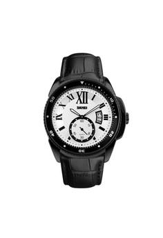 SKMEI Analog Round Leather Quartz Casual - Black/White