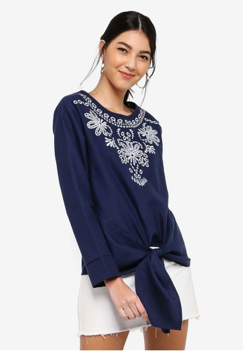 ZALORA navy Embroidered Front Tie Top 34C03AA81F4F7EGS_1