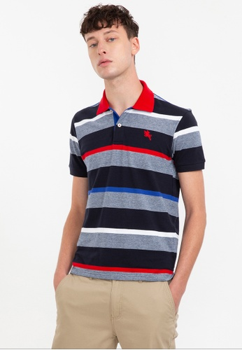 Bossini navy Short Sleeve Striped Premium Polo Shirt 826BDAAA51989CGS_1