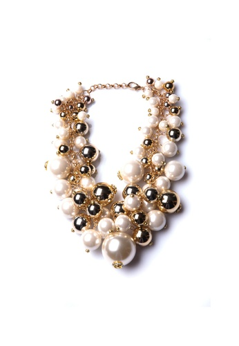 Limkokwing Fashion Club gold Gold Pearlish Necklace LI086AC90HVLMY_1