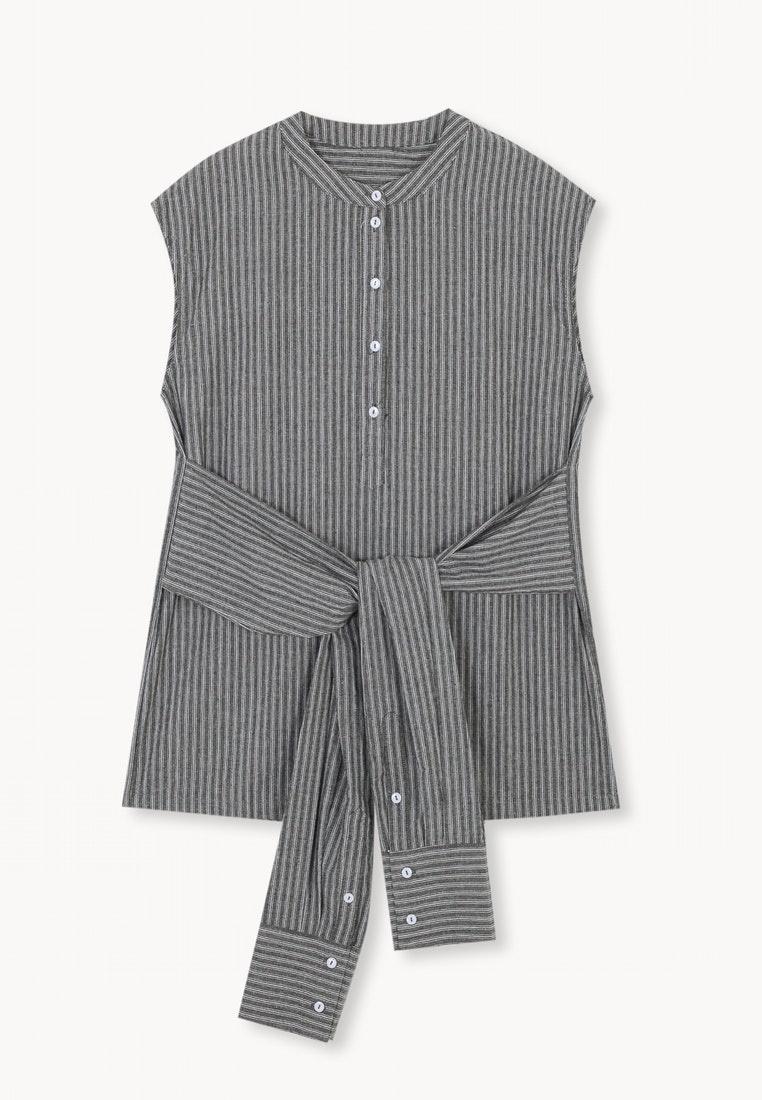 Pinstripe Waist White Sleeveless Shirt Wrap Pomelo Black z7dwfz