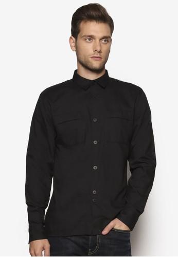 雙口袋長袖襯衫,esprit outlet 香港 服飾, 襯衫