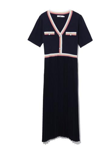 b+ab blue Pleated hem dress FA952AAD70B01BGS_1