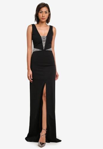 Goddiva black Embellished Cut Out Maxi Dress GO975AA0SAT7MY_1