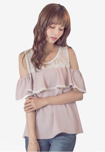 Yoco pink Lace Mesh Neck Ruffle Top 8BCA6AA6FE17DFGS_1