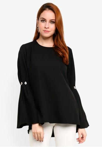 Aqeela Muslimah Wear black Embellished Pleated Sleeve Top 8ED3CAA1DEA570GS_1