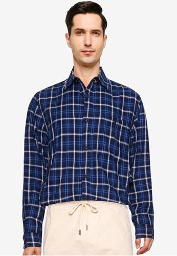 Banana Republic navy Untuck Slim Crinkle Flannel Shirt 86E7BAA7E94BB9GS_1