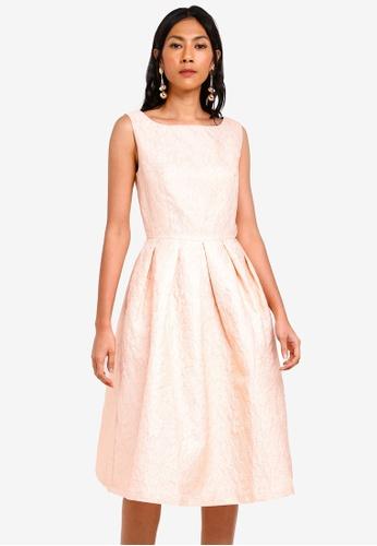 bYSI pink Jacquard Pleated Midi Dress 4A691AA7C22B46GS_1