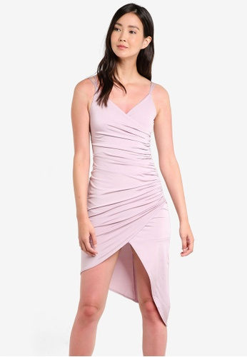 Miss Selfridge pink Pink Rouched Drape Dress MI665AA70GPLMY_1