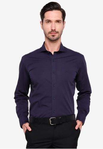 Sacoor Brothers navy Slim fit cotton elastane comfort poplin shirt in garment dye 8D1E0AAEBA1D4AGS_1