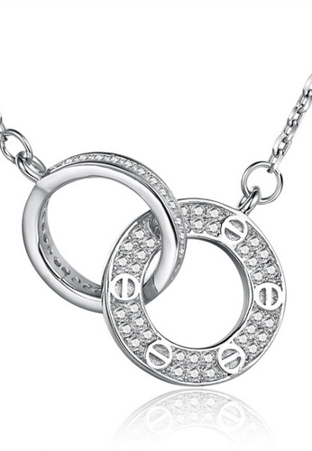 LYCKA silver LDD12076-S925 Siliver White Zircon Double Circle Necklace-Silver LY529AC0H2B1SG_1