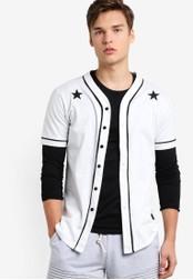 Flesh IMP white Starry Mesh Baseball Shirt FL064AA83NYIMY_1