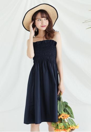 Shopsfashion blue and navy Basic Tube Dress in Black SH656AA0FSWKSG_1