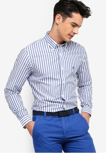 Brooks Brothers 白色 鈕釦條紋襯衫 66C75AAE84A225GS_1