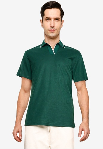 ZALORA BASICS green Contrast Tip Relaxed Polo Shirt 78824AACED65CDGS_1