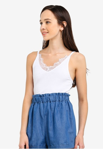 Cotton On white The Lace Trim V Neck Tank AA13DAA8B2DB29GS_1