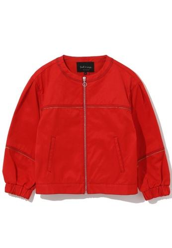 tout à coup red Collarless zip jacket 40464AA0B49157GS_1