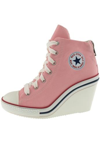 Maxstar 粉紅色 新款韩国鞋775-BZ時尚帆布布混合女粉紅色 US Women Size MA345SH93HBETW_1