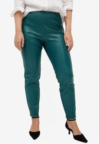 Violeta by MANGO green Plus Size Faux Leather Leggings C03C6AA39EAD05GS_1