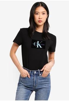 c5b176c6ef9 Calvin Klein black Flocked Monogram Tee - Calvin Klein Jeans  DD843AA3982B1EGS 1