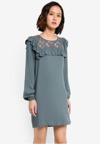 ZALORA blue Lace Yoke Long Sleeve Dress 8A374ZZD6C5E5FGS_1