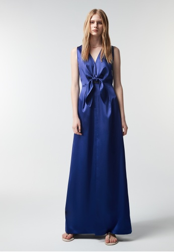 iROO blue Satin Long Dress 4D8C6AA5CBB00AGS_1