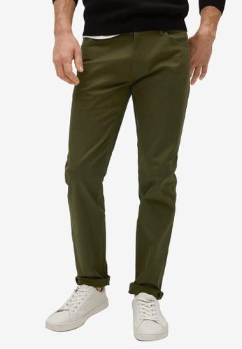 MANGO Man green Slim Fit Denim-Effect Serge Trousers 8C018AA83C600DGS_1