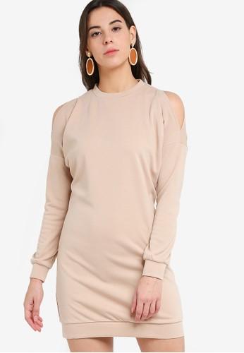 ZALORA BASICS beige Oversized Cold Shoulder Sweater Dress 8F360AAC03B175GS_1