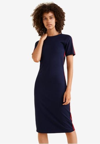 Mango navy Contrast Trim Dress 16918AA36E6D4EGS_1