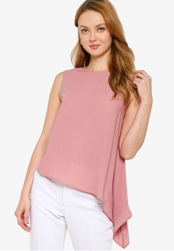 ZALORA WORK pink Asymmetric Hem Top D46F6AA3C95721GS_1