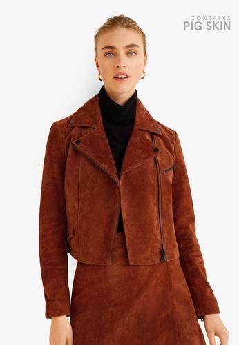 Mango brown Leather Biker Jacket 13442AAD99DCA2GS_1