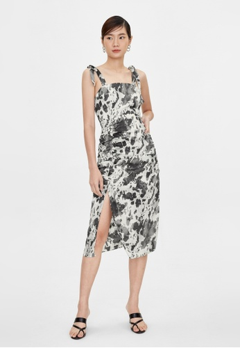 Pomelo black Paint Splash Side Slit Dress - Black E566DAAB435064GS_1