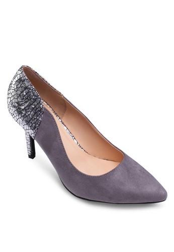 燙金拼接zalora 男鞋 評價尖頭高跟鞋, 女鞋, 鞋