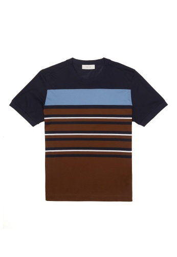 CERRUTI 1881 brown ASSORTED STRIPE COTTON T-SHIRT 0BB3CAA582F55AGS_1