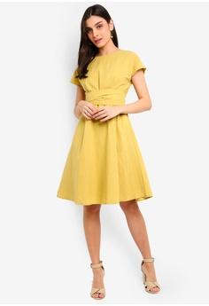 cd0373e1b57d2 FORCAST yellow Jimena A-Line Dress 3D81BAA88B6E04GS_1
