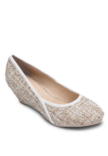 Mindy 斜紋楔形跟娃娃鞋, zalora 手錶女鞋, 鞋