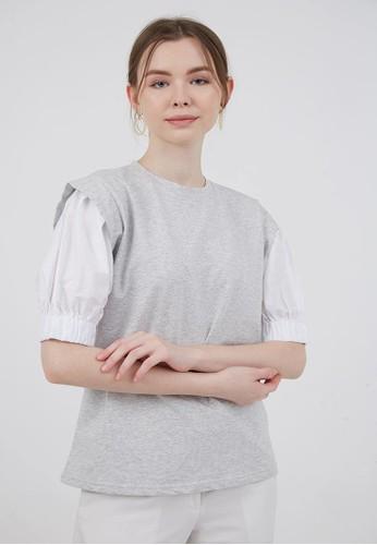 Berrybenka Label grey Sophie Milana Combi Blouse Light Grey 09747AA65F252FGS_1