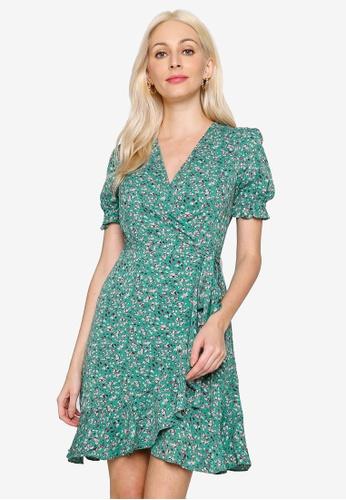 Hopeshow green Ruffle Hem Floral Chiffon Mini Dress D0DCEAAF425475GS_1
