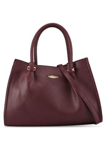 Perllini&Mel red Faux Leather Double Handle Bag Detachable Long Strap 2C89EAC9B387BAGS_1