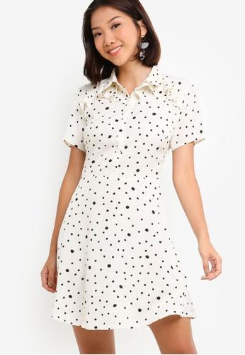 Something Borrowed 白色 Ruffles Shirt Dress C2963AA08AB2B5GS_1
