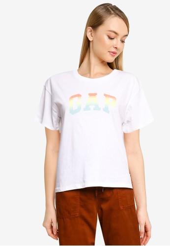 Gap white and multi Logo Easy Heavyweight T-Shirt DC513AAA989467GS_1
