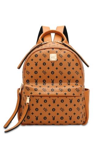 PLAYBOY BUNNY brown Women's Monogram Printed Backpack C988BAC4190BC3GS_1