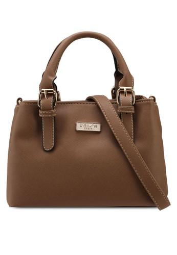Unisa brown Saffiano Multi-Compartment Convertible Top Handle Bag 61D12ACFCACD7FGS_1