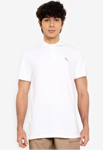 Abercrombie & Fitch white Moose Polo Shirt FF294AADD9E593GS_1