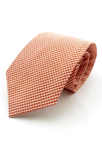 Caveman orange Orange Gingham Checks Necktie 4E443AC9BFCD66GS_1