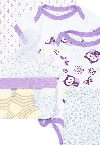 Mick + Marty purple Printed Onesie 7-piece Set 1B229KAEAAEC32GS_1