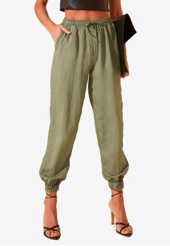Trendyol 綠色 抽繩 慢跑Style 褲 134A9AA922C81CGS_1